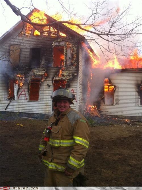 destruction,fire,firefighter,house,slacking off