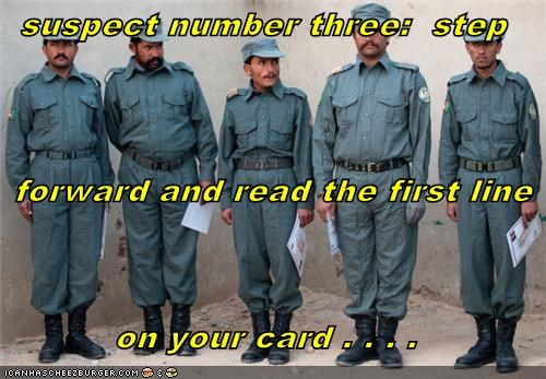 suspect number three:  step   forward and read the first line on your card . . . .