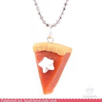 necklace,pendant,pie,pumpkin pie,scented
