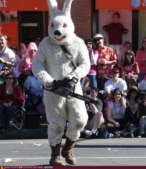 chainsaw,costume,easter,parade,potential horror movie,wtf