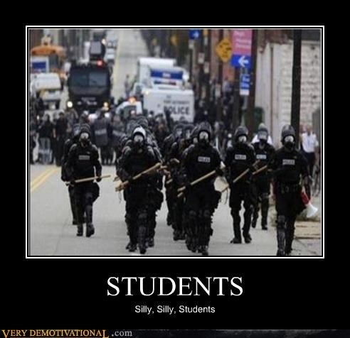 batons,big brother,police,protesting,riot cops,sheeple,students