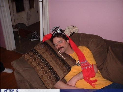 mustache,new years,Party,passed out