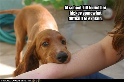 At school, Jill found her hickey somewhat difficult to explain.