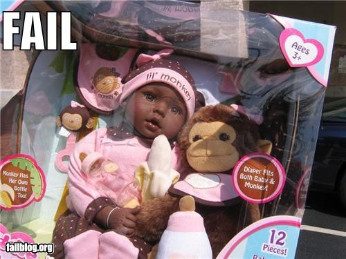 baby doll,bad idea,classic,failboat,products,racist,toys
