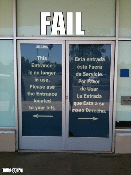 directions,doors,english,entrances,failboat,g rated,languages,spanish