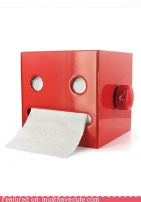 bathroom,dispenser,face,mouth,robot,toilet paper,TP