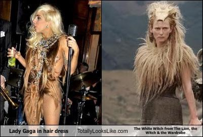 Lady Gaga in hair dress Totally Looks Like The White Witch from The Lion, the Witch & the Wardrobe