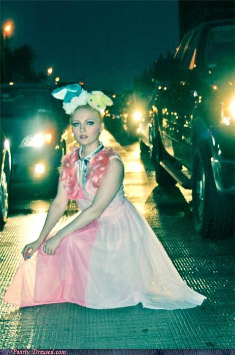 bunny,dress,pink,traffic,weird