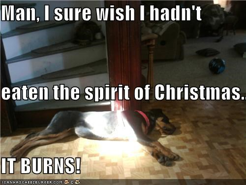 Man, I sure wish I hadn't eaten the spirit of Christmas... IT BURNS!