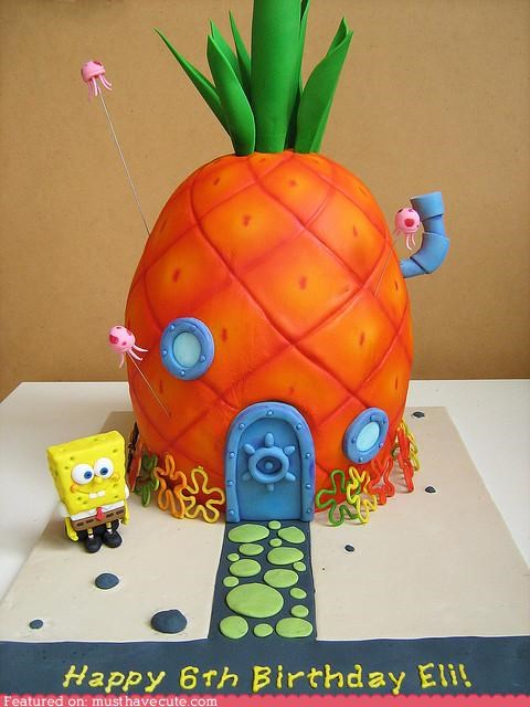 bikini bottoms,birthday,cake,epicute,fondant,pineapple,SpongeBob SquarePants,squarepants