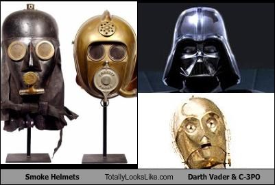 Smoke Helmets Totally Looks Like Darth Vader & C-3PO