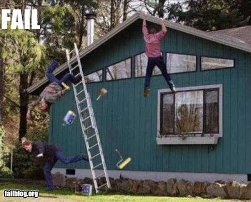 bad ideas,failboat,falling,g rated,house,ladders,ouch,so much fail