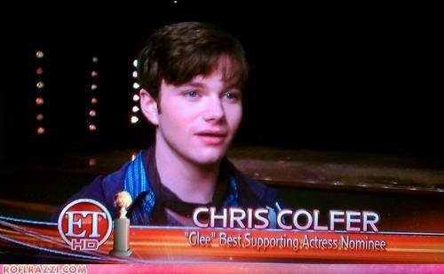 chris colfer,ET,FAIL,funny,glee,golden globes