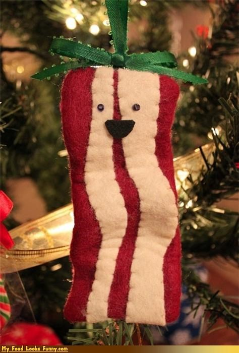 bacon,bacon ornament,christmas,christmas tree,holidays,ornament,tree