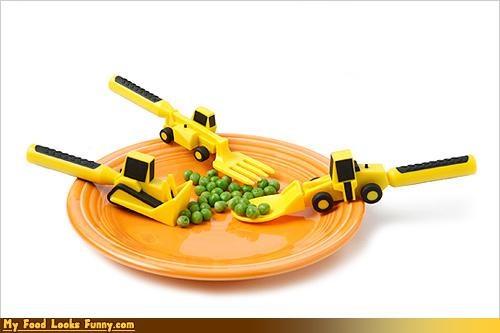 bulldozer,construction,eat,fork,kids,spoon,utensils