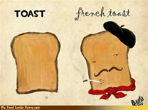 art,bread,france,french,french toast,pun,toast