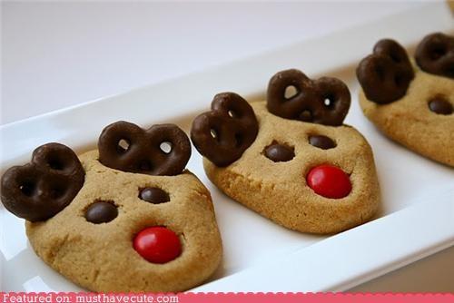 chocolate,christmas,cookies,epicute,peanut butter,pretzels,reindeer