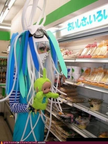 consumerism,cyber punk,grocery store,Japan,shopping,teletubby,wtf