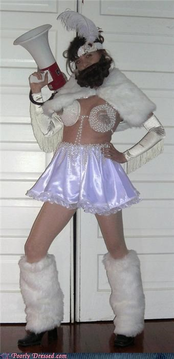 beard,boobies,bullhorn,costume,feather,Fringe,leggings,skirt