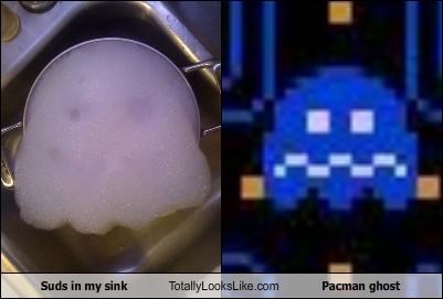 Suds in my sink Totally Looks Like Pacman ghost