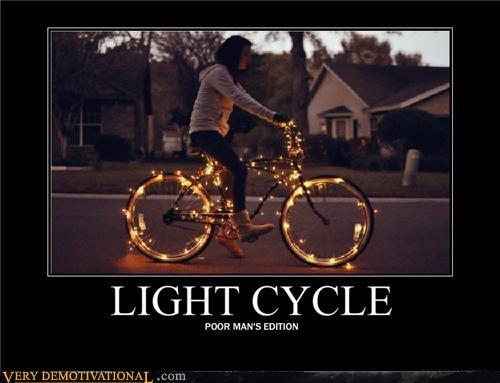 bike,capitalism,christmas lights,light cycle,poor people,tron
