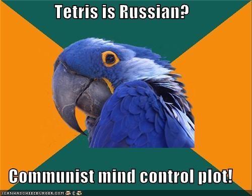 mind control,Paranoid Parrot,plot,Soviet Russia,tetris