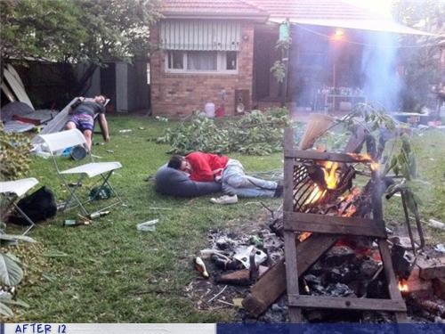 fire,messy,outside,passed out,yard
