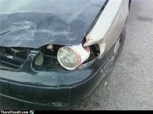 can,car,headlights,lights,plastic wrap,saran wrap