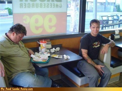 burgers,carls jr,dinner,full,meal,nap,photobomb,sleepy