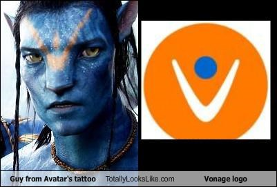 Guy from Avatar's tattoo Totally Looks Like Vonage logo