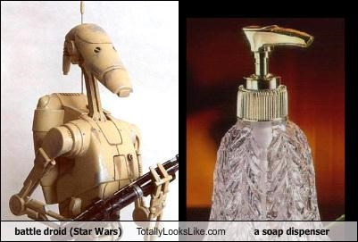 battle droid (Star Wars) Totally Looks Like a soap dispenser