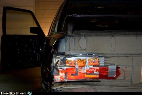 car repair,cardboard,duct tape,tail lights