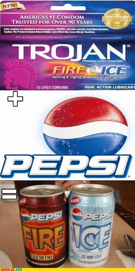 condoms,fire,ice,mash up,pepsi,the internets,wtf
