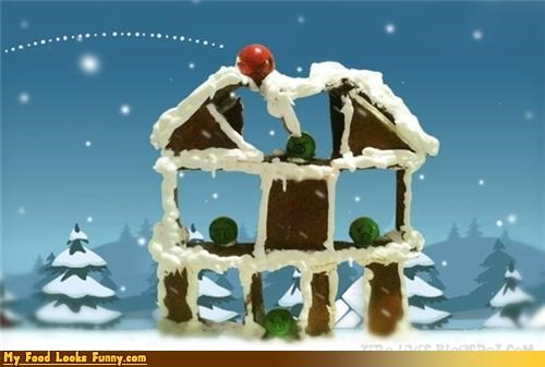 Funny Food Photos - Angry Birds Gingerbread House