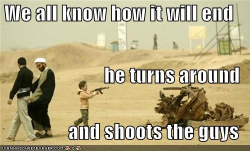 We all know how it will end he turns around and shoots the guys