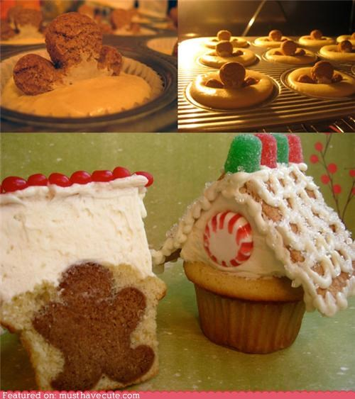 Epicute: Cupcakes With Gingerbread Houses and Hidden Men