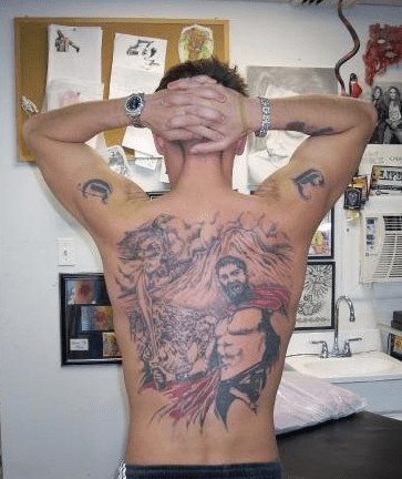wtf,that movie sucked and now its covering your whole back,tattoos,300