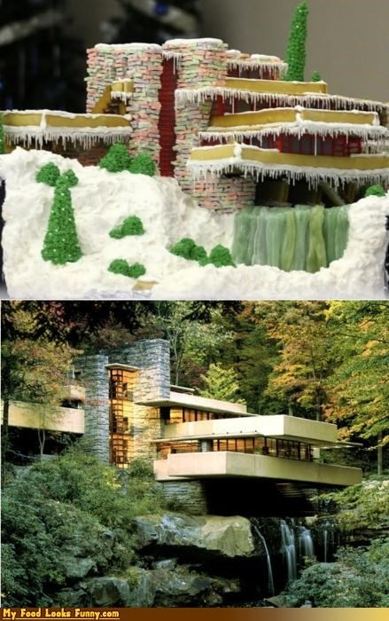 architecture,art,edible,falling water,frank lloyd wright,gingerbread,house,model,Sweet Treats