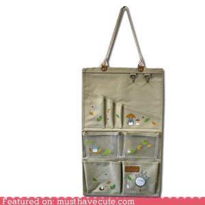 canvas,hanging,organizer,pockets,totoro
