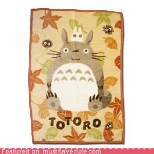Autumn Totoro Throw Blanket