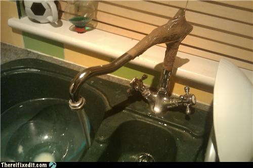 faucet,packing tape,repair,sink