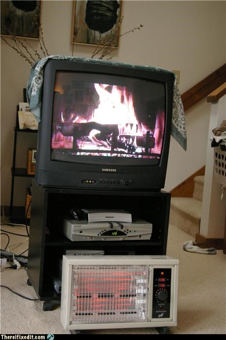 electric heater,fake,fire,TV