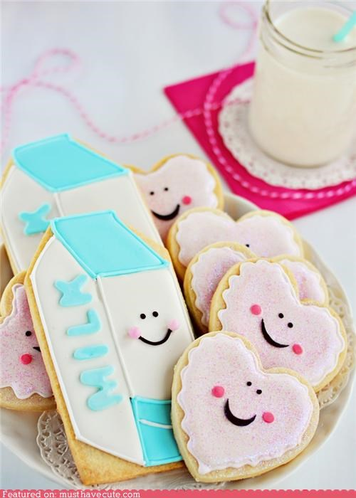 cookies,epicute,face,hearts,icing,milk,smile,sugar cookies
