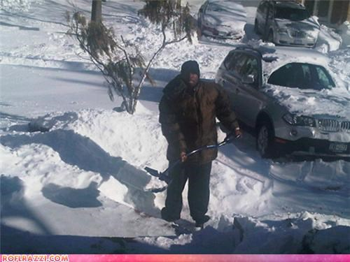 50 Cent Shovels Snow For Dough