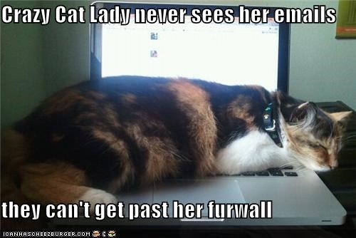 Crazy Cat Lady never sees her emails  they can't get past her furwall
