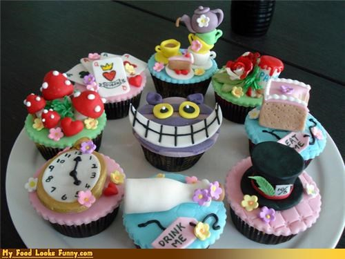alice,alice in wonderland,cheshire cat,cupcake,mad hatter,Sweet Treats,wonderland