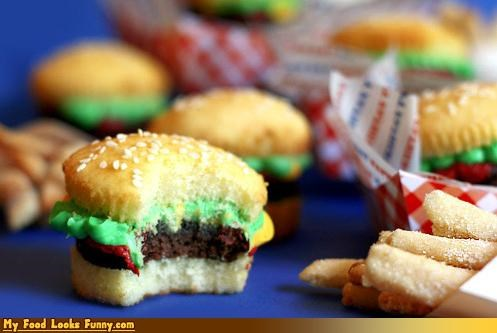 Funny Food Photos - Hamburger Cupcake