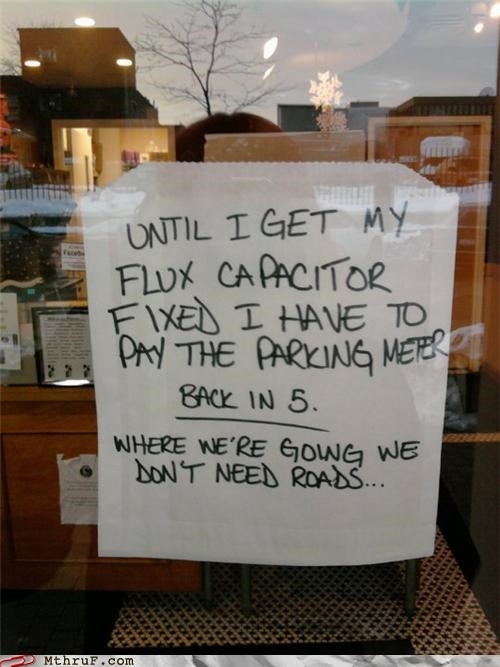 back to the future,flux capacitor,parking,signs