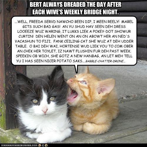 BERT ALWAYS DREADED THE DAY AFTER EACH WIVE'S WEEKLY BRIDGE NIGHT.
