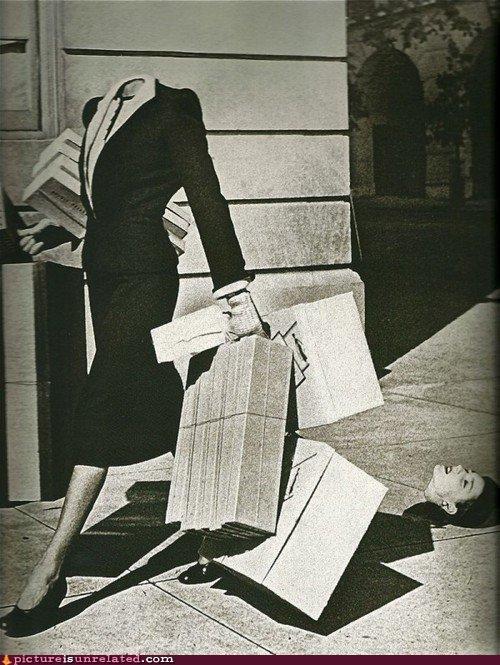 capitalism,consumerism,decapitation,metaphor,Sinbad jokes,vintage,women,women be shopping,wtf